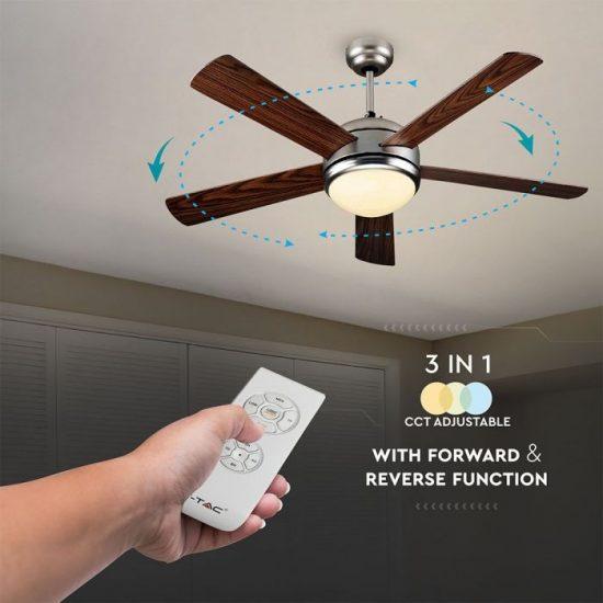 V-TAC LED MENNYEZETI VENTILÁTOR / 60W / 15W beépített LED világítással / távirányítóval / 5 pengés / VT-6052-5  7913