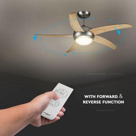 V-TAC LED MENNYEZETI VENTILÁTOR / 60W / dupla E27 foglalattal / távirányítóval / 5 pengés /  VT-6053-5 7916