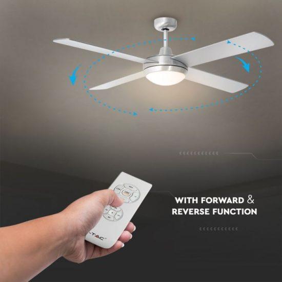 V-TAC LED MENNYEZETI VENTILÁTOR / 60W / dupla E27 foglalattal / távirányítóval / 4 pengés /  VT-6054-4  7917