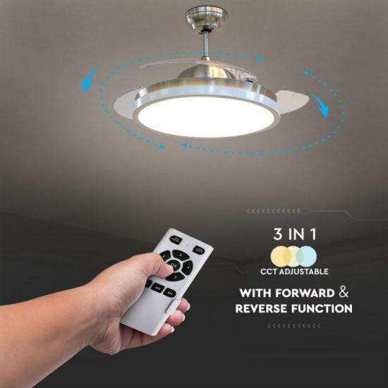 V-TAC LED MENNYEZETI VENTILÁTOR / 35W / 30W beépített LED világítással / távirányítóval / 3 pengés / VT-3042-3 7929