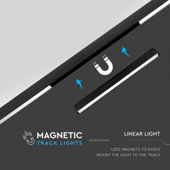 V-TAC LED MÁGNESES LINEÁR VILÁGÍTÁS / 30W / DC 24V / meleg fehér - 3000K / fekete / VT-4131 7956
