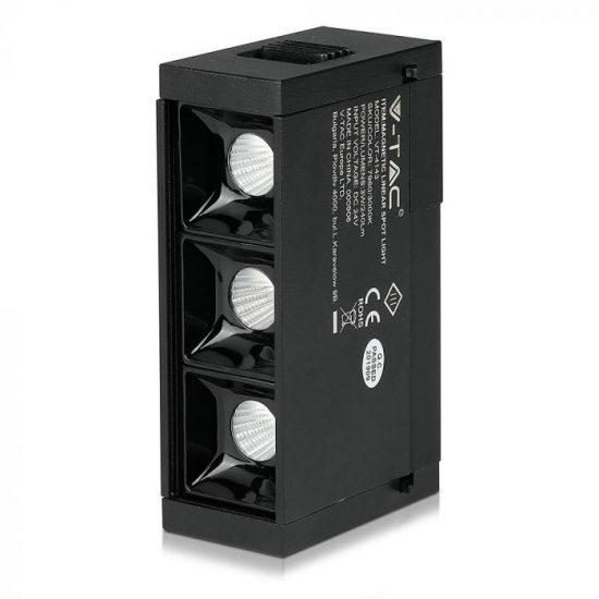 V-TAC LED MÁGNESES LINEÁR SPOT VILÁGÍTÁS / 3W / DC 24V / meleg fehér - 3000K / fekete / VT-4143 7960