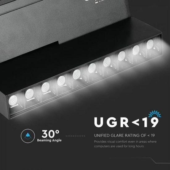 V-TAC LED DÖNTHETŐ MÁGNESES LINEÁR SPOT VILÁGÍTÁS / 20W / DC 24V / nappali fehér - 4000K / fekete / VT-4220 7965