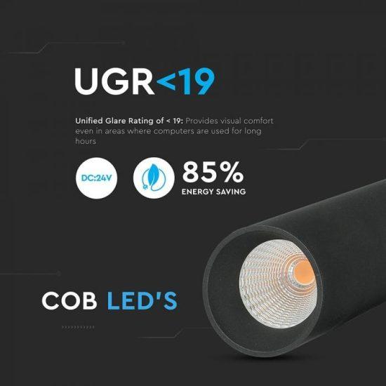 V-TAC LED MÁGNESES FELFÜGGESZTETT LINEÁR SPOT / 15W / DC 24V / nappali fehér - 4000K / fekete / VT-4315 7969