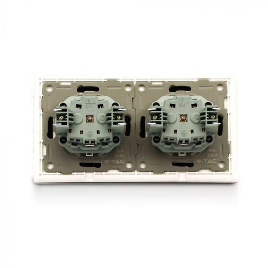 V-TAC EU DUPLA KONNEKTOR / süllyeszthető / 16Ax2 / fehér / IP20 / VT-5811 8402