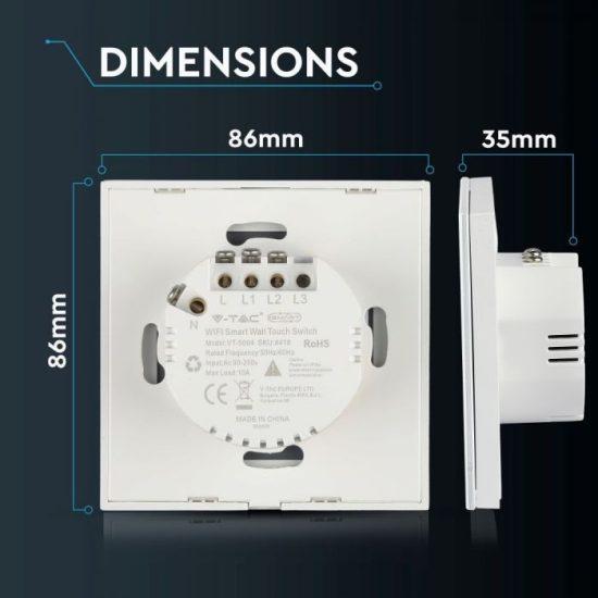 V-TAC LED SMART HOME ÉRINTŐGOMBOS KAPCSOLÓ / wifis vezérlés  / 2 érintőgomb / fehér /  VT-5004 8418