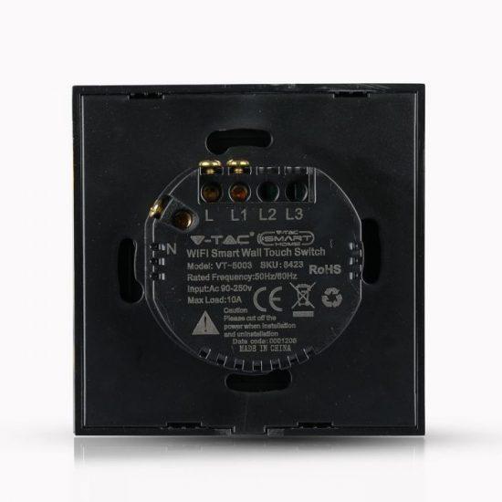 V-TAC LED SMART HOME ÉRINTŐGOMBOS KAPCSOLÓ / wifis vezérlés  / 1 érintőgomb / fekete /  VT-5003 8423