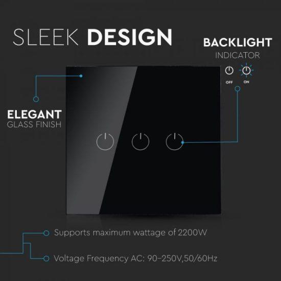 V-TAC LED SMART HOME ÉRINTŐGOMBOS KAPCSOLÓ / wifis vezérlés  / 3 érintőgomb / fekete /  VT-5005 8425