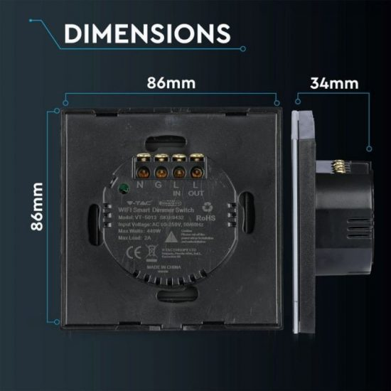 V-TAC LED SMART HOME ÉRINTŐGOMBOS KAPCSOLÓ / wifis vezérlés  / fényerőszabályzó / fekete /  VT-5013 8432