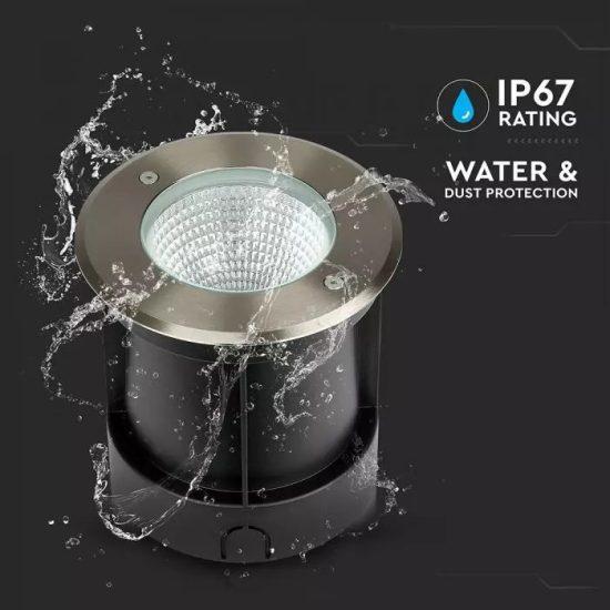 V-TAC LED SÜLLYESZTHETŐ KERTI LÁMPA / 40cm vezetékkel / nappali fehér - 4000K / kör / 12W / fekete / VT-7681 8622