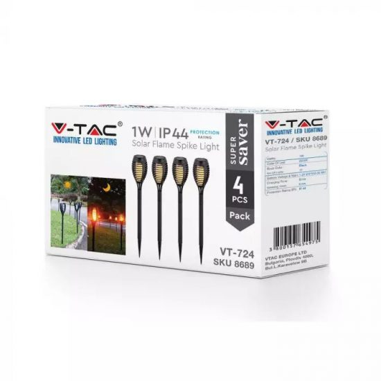 V-TAC LED NAPELEMES KERTI LÁMPA CSOMAG/ 4db / meleg fehér - 2200K / 1W / fekete / VT-724 8689