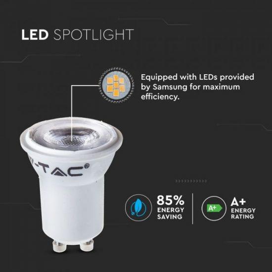 V-TAC LED SPOT / GU10 / 2W / 38° / 3000K - meleg fehér / 180lumen / Samsung chip / VT-232 869
