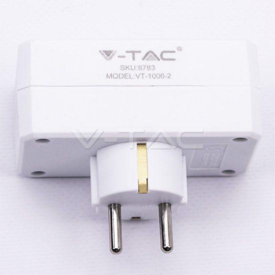 V-TAC ELOSZTÓ / 2 csatlakozó / 16A / fehér / VT-1006 8783