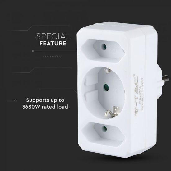 V-TAC ELOSZTÓ / 3 csatlakozó / 16A / fehér / VT-1005 8784