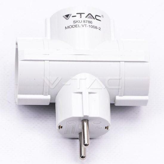 V-TAC ELOSZTÓ / 3 csatlakozó / 16A / fehér / VT-1008 8786