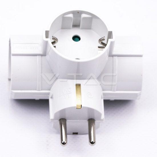 V-TAC ELOSZTÓ / 3 csatlakozó / 16A / fehér / VT-1012 8790
