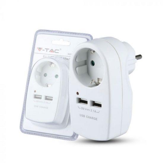 V-TAC DUGALJ / 1 csatlakozó / 2 USB aljzat / fehér / 16A+2,1A VT-1044 8795