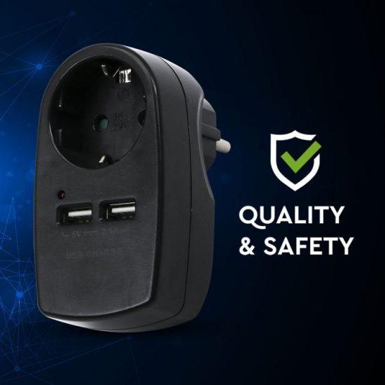 V-TAC DUGALJ / 1 csatlakozó / 2 USB aljzat / fekete / 16A+2,1A VT-1044 8796