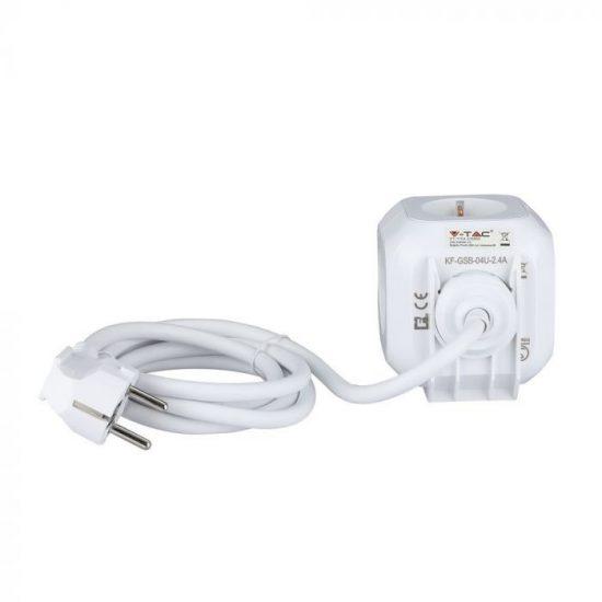 V-TAC HOSSZABBÍTÓ-ELOSZTÓ / 4 csatlakozó / 2 USB aljzat / fehér / 16+2,4A / 1,4m VT-1154 8800