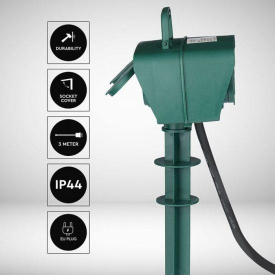 V-TAC LESZÚRHATÓ-ELOSZTÓ / 4 csatlakozó / 3G1,5mm2 / zöld / 16A / 3m VT-1114 8810