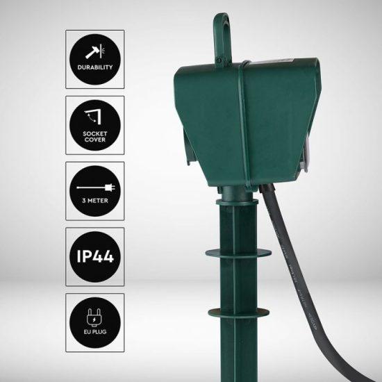 V-TAC LESZÚRHATÓ-IDŐZÍTŐS-ELOSZTÓ / 2 csatlakozó / 3G1,5mm2 / zöld / 16A / 3m VT-1112 8811