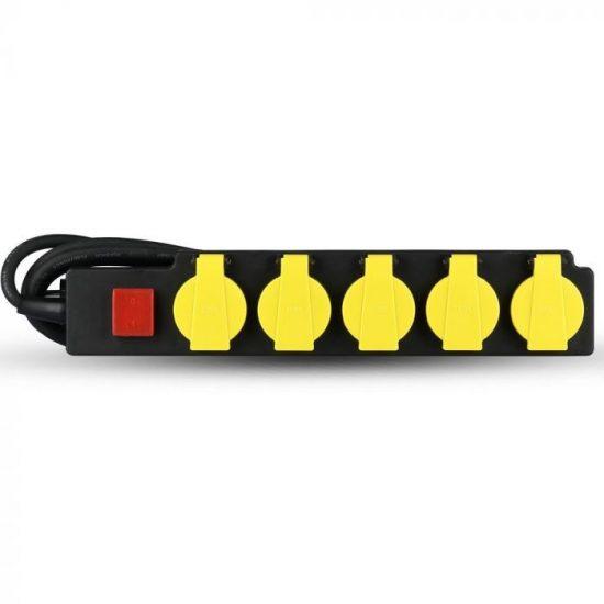 V-TAC HOSSZABBÍTÓ-ELOSZTÓ / 5 csatlakozó-kapcsoló / fekete-sárga / 16A / 3m VT-1125 8813