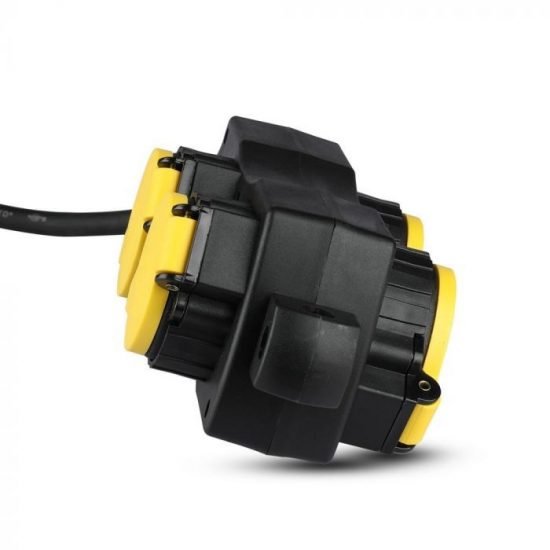 V-TAC HOSSZABBÍTÓ-ELOSZTÓ / 4 csatlakozó / fekete-sárga / 16A / 3m VT-1124 8814