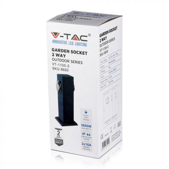 V-TAC KERTI OSZLOP KONNEKTOR / 2 csatlakozó / 16Ax2 / szürke / IP44 / VT-1155 8820