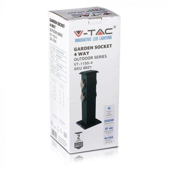 V-TAC KERTI OSZLOP KONNEKTOR / 4 csatlakozó / 16Ax2 / szürke / IP44 / VT-1155 8821