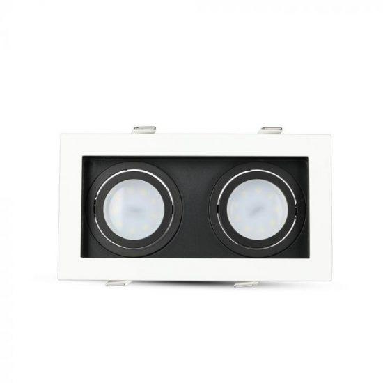 V-TAC LED SPOT BEÉPÍTŐ KERET  / GU10 / 2-foglalat / fehér-fekete / szögletes / billenthető / VT- 886 8877