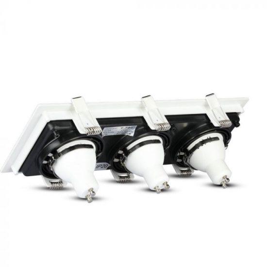 V-TAC LED SPOT BEÉPÍTŐ KERET  / GU10 / 3-foglalat / fehér-fekete / szögletes / billenthető / VT- 886 8878