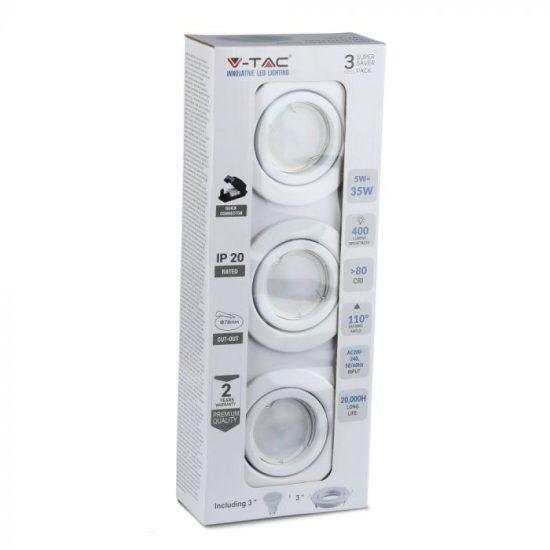 V-TAC LED SPOT CSOMAG (3db) / GU10-keret-csatlakozó / 5W / 110° / hideg fehér - 6400K / 400lumen / VT-3333 8883