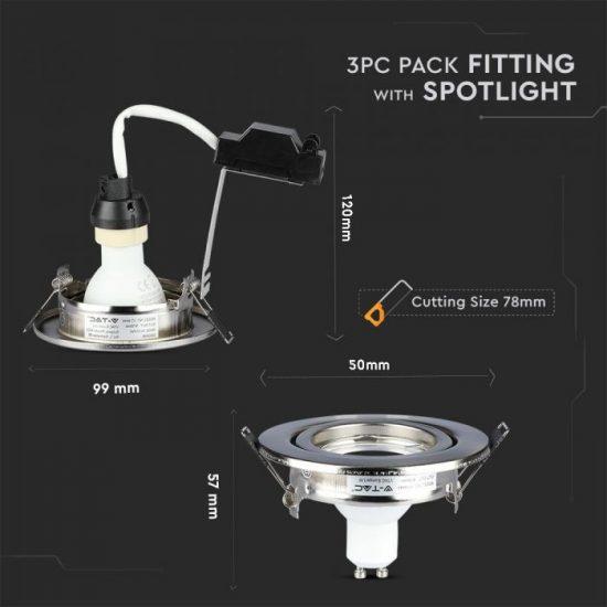 V-TAC LED SPOT CSOMAG (3db) / GU10-keret-csatlakozó / 5W / 110° / meleg fehér - 3000K / 400lumen / VT-4444 8884