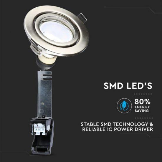 V-TAC LED SPOT CSOMAG (3db) / GU10-keret-csatlakozó / 5W / 110° / hideg fehér - 6400K / 400lumen / VT-4444 8886