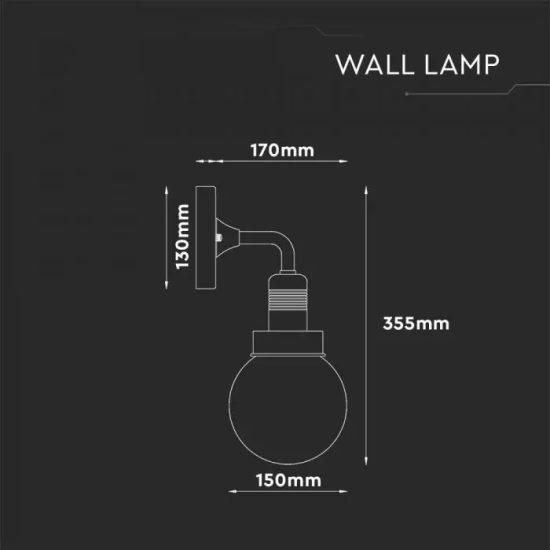 V-TAC LED LEFELÉ NÉZŐ FALI LÁMPA / IP65 / matt fekete / E27 foglalattal / VT-720 8970