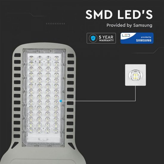 V-TAC LED UTCAI SLIM VILÁGÍTÓ / 100W / IP65 / szürke / hideg fehér - 6400K / 12000lumen / Samsung chip / VT-104ST 961