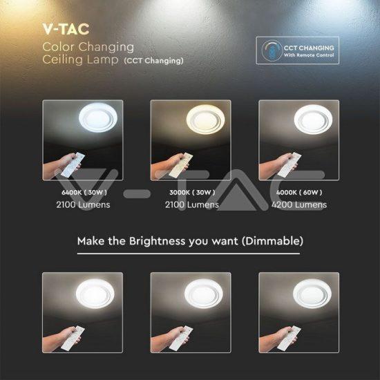 V-TAC 65W dimmelhető LED mennyezeti design lámpa 3 in 1vezérlővel/VT-8473/ 76011