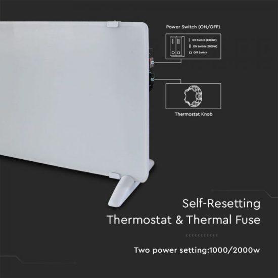 V-TAc Fehér 2000W-os Üveg fűtőpanel IP24/VT-2000/ 8661